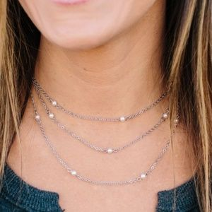 HTF Origami Owl Silver & Pearl Station Chain